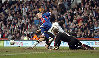 Photo: Leigh Quinnell.<br /> Derby County v Crystal Palace. Coca Cola Championship. 25/03/2006. Palaces' Andy Johnson feels he should have had a penalty after being fouled by Derbys Richard Jackson in the box.