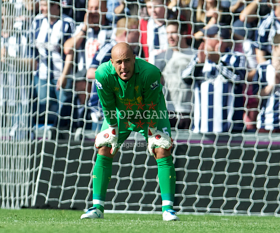 WEST BROMWICH, ENGLAND - Saturday, August 18, 2012: Liverpool's goalkeeper Jose Reina looks dejected as his side are humiliated by 3-0 West Bromwich Albion during the opening Premiership match of the season at the Hawthorns. (Pic by David Rawcliffe/Propaganda)