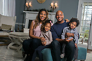 Wes Moore and family in their home for the Maryland Food Bank.
