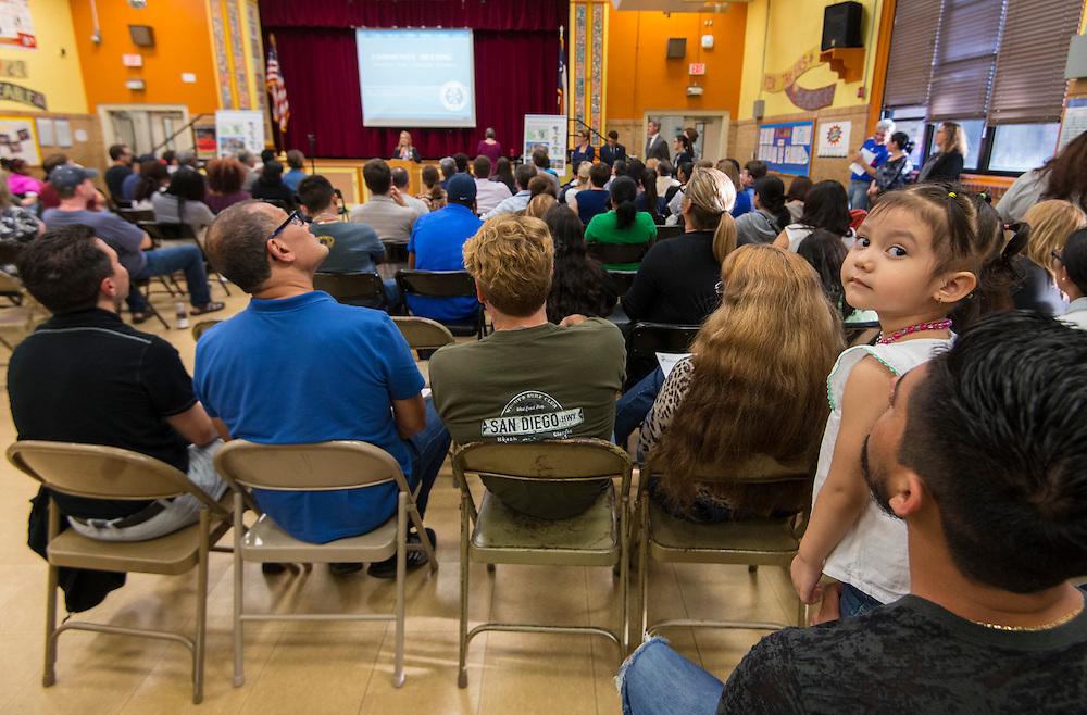 Bond community meeting at Wharton Dual Language Academy, April 21, 2016.