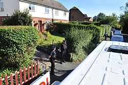 © Licensed to London News Pictures. 29/09/2018<br /> HADLOW, UK.<br /> 24 Carpenters Lane with police at the driveway with police vehicles parked.<br /> A murder investigation has been launched in Hadlow,Kent after the deaths of two women at Carpenters Lane. A 28 year old man has been arrested on suspicion of murder after three people suffered serious injuries. Police forensic officers are at the scene inside two properties 26 and 24 Carpenters Lane.<br /> Photo credit: Grant Falvey/LNP