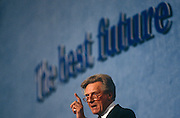 Conservative MP, Michael Heseltine speaks at the Conservative party conference on 11th October 1991 in Blackpool, England.