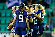 Scotland players celebrate Scotland's fourth goal (4-0) scored by Jane Ross (#13) of Scotland during the Women's Euro Qualifiers match between Scotland Women and Cyprus Women at Easter Road, Edinburgh, Scotland on 30 August 2019.