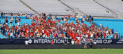 CHARLOTTE, USA - Saturday, July 21, 2018: Liverpool players climb into the stands for a photo with the supporters after a training session at the Bank of America Stadium ahead of a preseason International Champions Cup match between Borussia Dortmund and Liverpool FC. (Pic by David Rawcliffe/Propaganda)