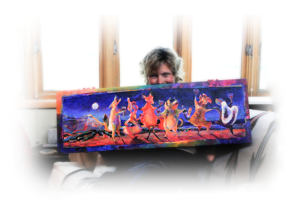 "Cynthia Duff and her winning painting for the 2010 Colorado Mountain Winefest in Palisade, Colorado - ""Party Animals"""