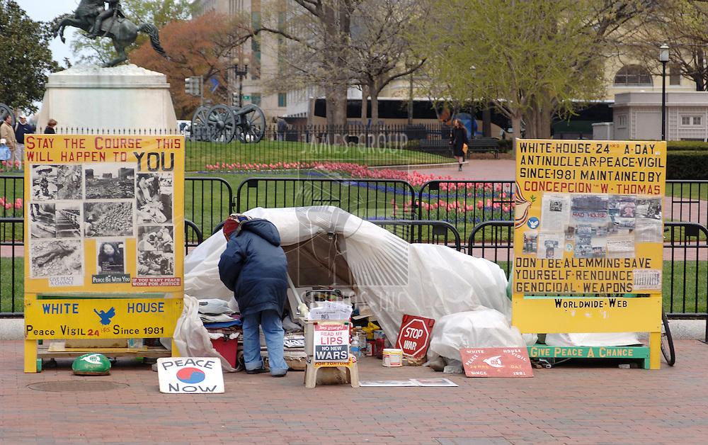 Peacenik protester in Washington DC next to the White House