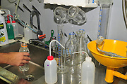 Research Laboratory Washing test tubes