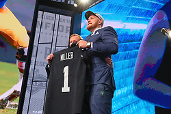 April 26, 2018 - Arlington, TX, U.S. - ARLINGTON, TX - APRIL 26:  Kolton Miller takes a photo with NFL Commissioner Roger Goodell after being chosen by the Oakland Raiders with the fifteenth pick during the first round at the 2018 NFL Draft at AT&T Statium on April 26, 2018 at AT&T Stadium in Arlington Texas.  (Photo by Rich Graessle/Icon Sportswire) (Credit Image: © Rich Graessle/Icon SMI via ZUMA Press)