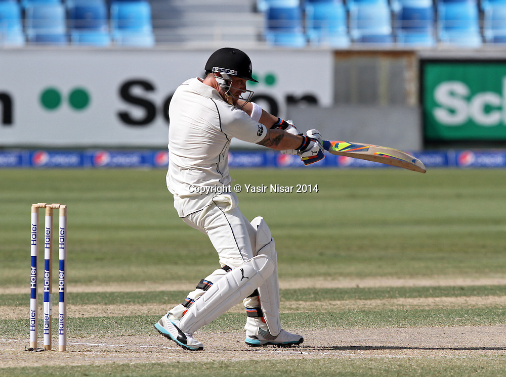 Pakistan vs New Zealand, 20 November 2014 <br /> McCullum plays a shot on the forth day of second test in Dubai