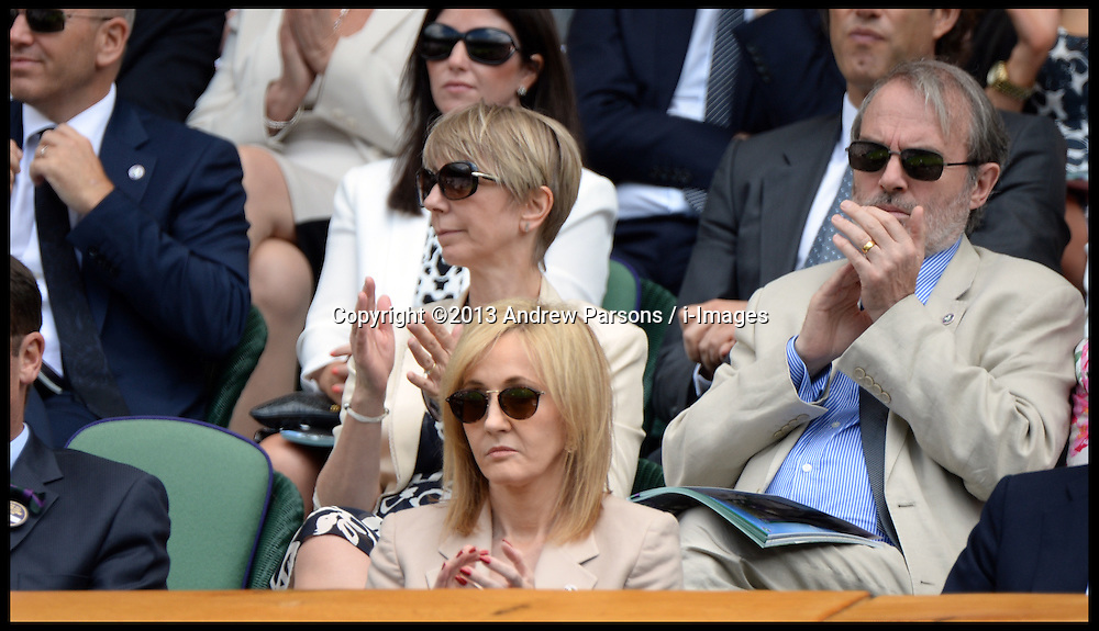 JK Rowling watching Novak Djokovic v Florian Mayer on Centre Court at the Wimbledon Tennis Championships.<br /> Tuesday, 25th June 2013<br /> Picture by Andrew Parsons / i-Images