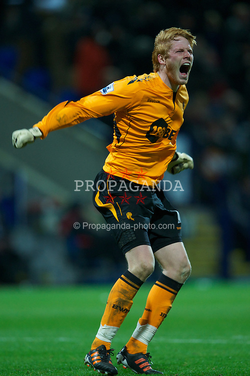 BOLTON, ENGLAND - Saturday, January 21, 2011: Bolton Wanderers' goalkeeper Adam Bogdan celebrates his side's the third goal against Liverpool during the Premiership match at the Reebok Stadium. (Pic by David Rawcliffe/Propaganda)