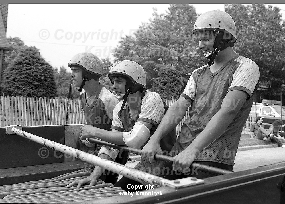 The West Hempstead Fire Department Westerners racing team in action at a tournament in Franklin Square, N.Y. in 1981.