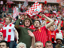 LONDON, ENGLAND - Saturday, April 14, 2012: Liverpool supporters celebrate the 2-1 victory over Everton during the FA Cup Semi-Final match at Wembley. (Pic by David Rawcliffe/Propaganda)