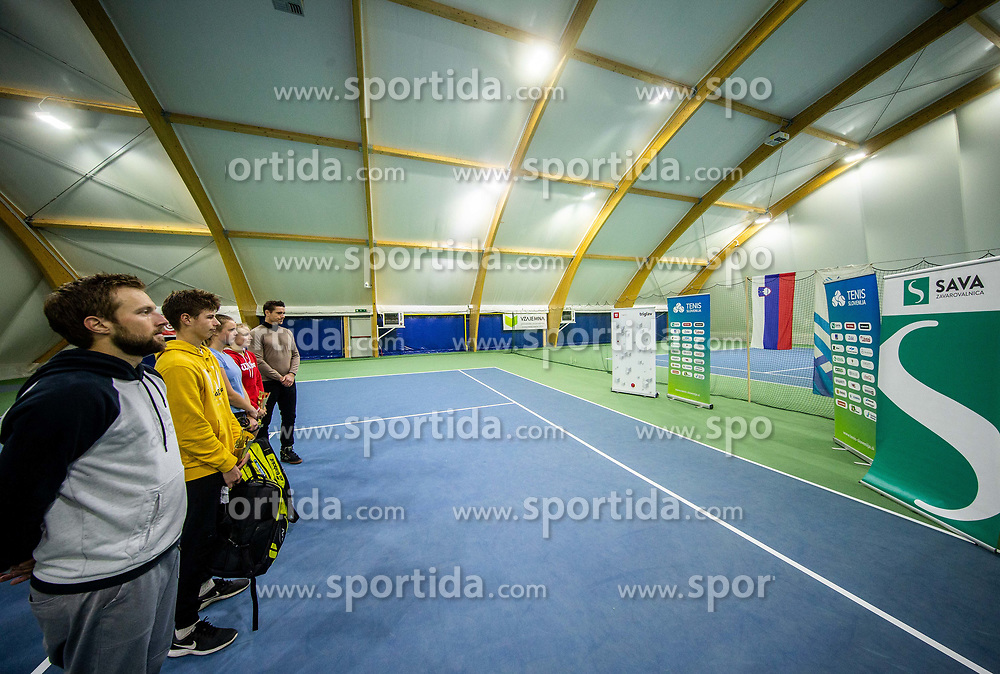 Tom Kocevar Desman listening to the national anthem after Slovenian National Tennis Championship 2019, on December 21, 2019 in Medvode, Slovenia. Photo by Vid Ponikvar/ Sportida