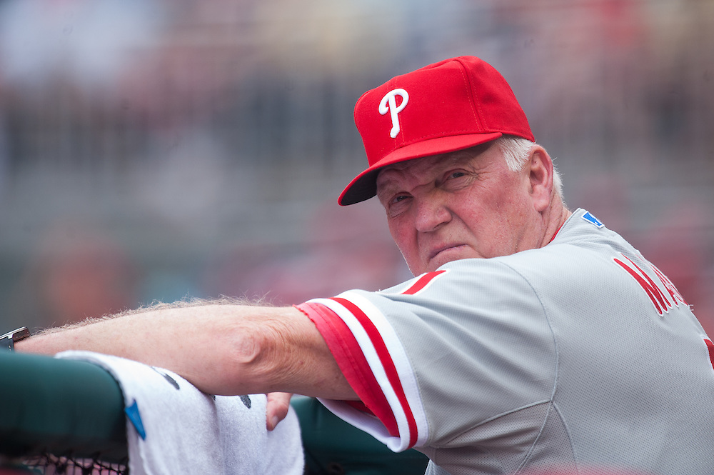 WASHINGTON, DC - MAY 05: Manager Charlie Manuel #41 of the Philadelphia Phillies looks on during the game against the Washington Nationals at Nationals Park on May 5, 2012 in Washington, DC. (Photo by Rob Tringali) *** Local Caption *** Charlie Manuel
