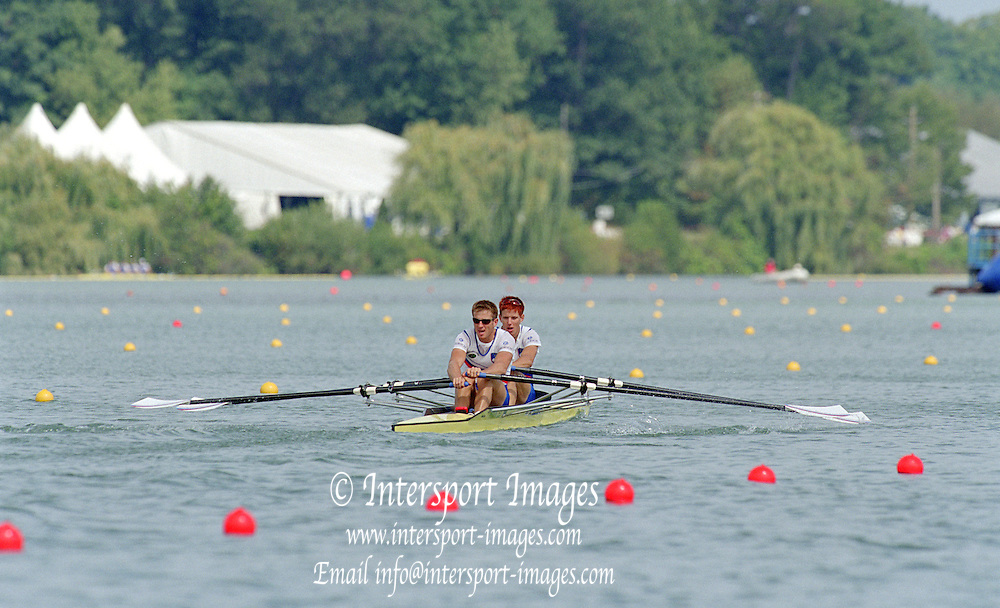 St Catherines, CANADA,  Men's Double Sculls. Gold Medalist, SLO M2X, Iztok COP and Bow,  Luka SPIK, competing at the 1999 World Rowing Championships - Martindale Pond, Ontario. 08.1999..[Mandatory Credit; Peter Spurrier/Intersport-images]  .. 1999 FISA. World Rowing Championships, St Catherines, CANADA