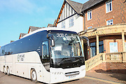 The FGR team coach prepares to leave the team hotel during the Vanarama National League match between Wrexham FC and Forest Green Rovers at the Racecourse Ground, Wrexham, United Kingdom on 26 November 2016. Photo by Shane Healey.