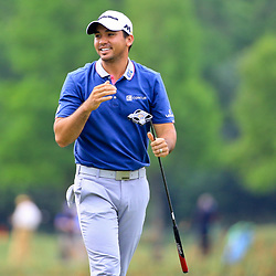Apr 28, 2016; Avondale, LA, USA; Jason Day reacts after a missed putt on the 18th hole during the first round of the 2016 Zurich Classic of New Orleans at TPC Louisiana. Mandatory Credit: Derick E. Hingle-USA TODAY Sports