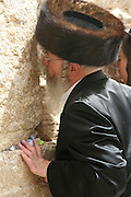 Israel, Jerusalem, Old City, Wailing Wall Jewish man at prayer