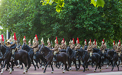 London, July 7th 2017. Early morning rehearsals take place at Horseguards Parade in London ahead of the State Visit by Spain's King Felipe and Queen Letizia.