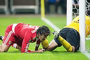 Luca Toni and Frankfurt's goal keeper Nikolov Bei tangle. Eintracht Frankfurt vs FC Bayern München.