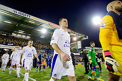 OLDHAM, ENGLAND - Saturday, February 16, 2013: Everton's Darron Gibson walks onto the pitch before the FA Cup 5th Round match against Oldham Athletic at Boundary Park. (Pic by Vegard Grott/Propaganda)