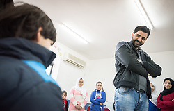 16 February 2020, Irbid, Jordan: Incentive-Based Volunteer Baha leads a psychosocial support session for Syrian refugee children and Jordanian host communities, organized by the Lutheran World Federation at the Islamic Centre in Al-Mazar.