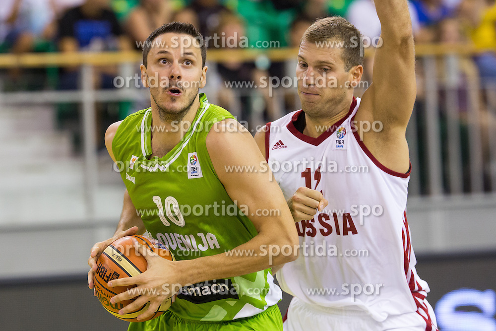 Bostjan Nahbar of Slovenia vs Sergey Monya of Russia during friendly match between National teams of Slovenia and Russia for Eurobasket 2013 on August 18, 2013 in Hala Tivoli, Ljubljana, Slovenia. (Photo by Matic Klansek Velej / Sportida.com)