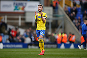Disappointed  Leeds United defender Liam Cooper (6) applauds the fans at full time during the EFL Sky Bet Championship match between Birmingham City and Leeds United at St Andrews, Birmingham, England on 6 April 2019.
