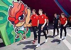 NANNING, CHINA - Tuesday, March 20, 2018: Wales' Chris Mepham and Ryan Hedges during a team walk at the Wanda Realm Resort ahead of the 2018 Gree China Cup International Football Championship. (Pic by David Rawcliffe/Propaganda)