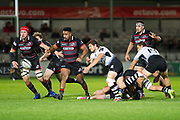 Marcello Violi passes during the Guinness Pro 14 2017_18 match between Edinburgh Rugby and Zebre at Myreside Stadium, Edinburgh, Scotland on 6 October 2017. Photo by Kevin Murray.