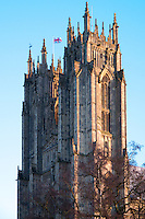 The 15th century (possibly earlier) twin towers of Beverley Minster viewed from the south west