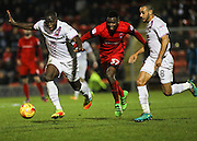 John Akinde breaks through the Orient defence during the EFL Sky Bet League 2 match between Leyton Orient and Barnet at the Matchroom Stadium, London, England on 7 January 2017. Photo by Jack Beard.