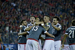 August 31, 2017 - Santiago, Santiago, Chile - Santiago Chile August 31, 2017. The Chilean Soccer Team Vs Paraguay faces a qualifying match for the 2014 World Cup Qualifiers. Paraguayan players celebrate the second goal they won during the match played at the National Stadium. Santiago Chile 31 August 2017. LUISVARGAS / ZUMAPRESS - (TAGS - SPORTS - FOOTBALL - FIFA CLASSIFICATION DATES - RUSSIA WORLD 2018 - CHILE VS PARAGUAY - SANTIAGO CHILE (Credit Image: © Luis Vargas via ZUMA Wire)