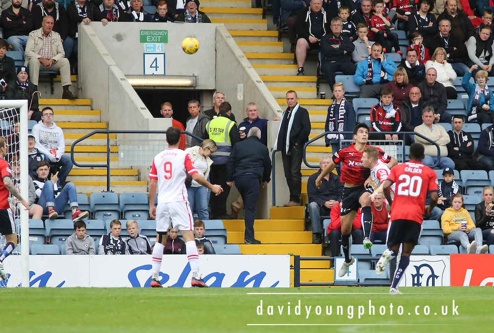 Ross County&rsquo;s Michael Gardyne scores with a looping header - Dundee v Ross County - Ladbrokes Premiership at Dens Park<br /> <br />  <br />  - &copy; David Young - www.davidyoungphoto.co.uk - email: davidyoungphoto@gmail.com