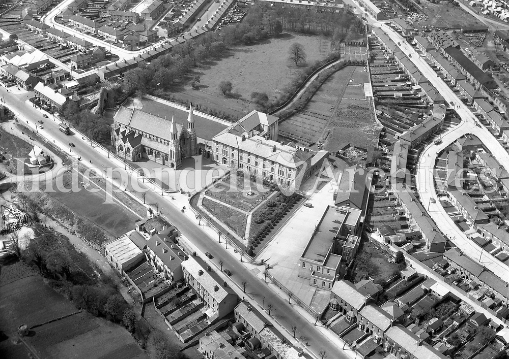 A337 Oblates Inchicore.   25/05/56 (Part of the Independent Newspapers Ireland/NLI collection.)<br /> <br /> These aerial views of Ireland from the Morgan Collection were taken during the mid-1950's, comprising medium and low altitude black-and-white birds-eye views of places and events, many of which were commissioned by clients. From 1951 to 1958 a different aerial picture was published each Friday in the Irish Independent in a series called, 'Views from the Air'.
