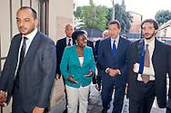 Roma 7 Ottobre 2013<br /> Il sindaco di Roma Ignazio Marino accoglie il Ministro per l'integrazione, C&eacute;cile Kyenge, alla Commemorazione del 70&deg; anniversario della liberazione del campo di Ferramonti di Tarsia e della proiezione del documentario &laquo;Ferramonti, il campo sospeso&raquo;.