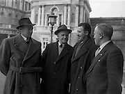 26/03/1957<br /> 03/26/1957<br /> 26 March 1957<br /> Deputies arriving at Dail Eireann, Leinster House, Dublin for first time after election. Pictured (l-r): Peadar Clohessy T.D. (Limerick East); J.J. Collins, T.D. (Limerick West); Neil Blaney T.D., Minister for Posts and Telegraphs; Colm Gallagher, T.D.