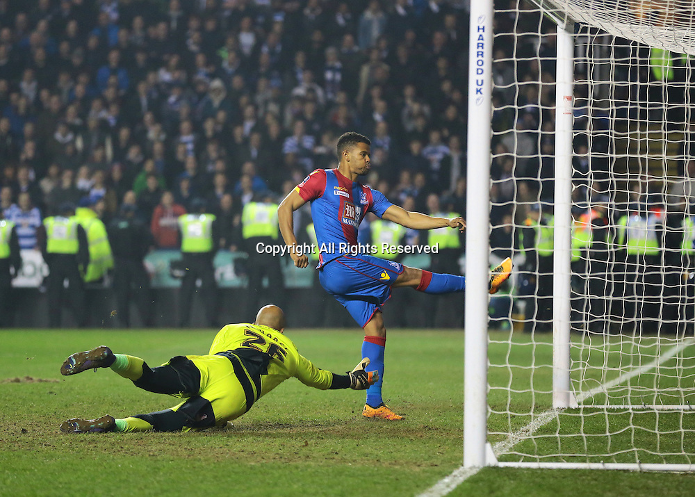 11.03.2016. Madejeski Stadium, Reading, England. Emirates FA Cup 6th Round. Reading versus Crystal Palace. Goal from Crystal Palace Forward Fraizer Campbell as his first shot is denied by Reading Goalkeeper Ali Al-Habsi, but hits the back of the net with a second chance ball, 2-0 Crystal Palace