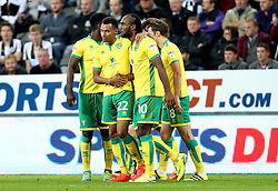 Cameron Jerome of Norwich City celebrates with teammates after putting his side 1-2 ahead at Newcastle United - Mandatory by-line: Robbie Stephenson/JMP - 28/09/2016 - FOOTBALL - St James Park - Newcastle upon Tyne, England - Newcastle United v Norwich City - Sky Bet Championship