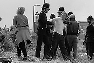 Police arrest a picket at Orgreave, 1984 Miners Strike. 30 May 1984...&copy; Martin Jenkinson martin@pressphotos.co.uk<br />