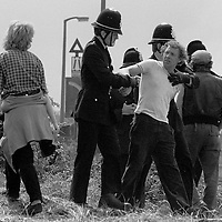 Police arrest a picket at Orgreave, 1984 Miners Strike. 30 May 1984...© Martin Jenkinson martin@pressphotos.co.uk<br />