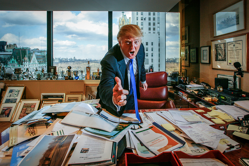 Real Estater, TV entertainer and business entrepreneur Donald Trump at his office in the Trump Headquarter on 56th and 5th on Manhattan.