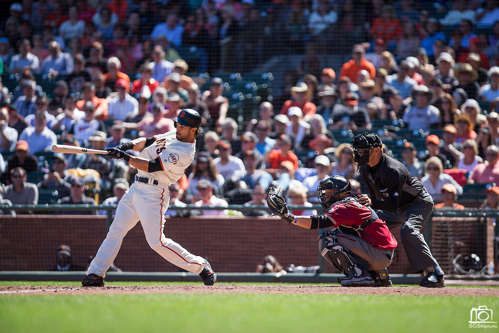 San Francisco Giants left fielder Angel Pagan (16) hits a double against the Arizona Diamondbacks at AT&T Park in San Francisco, Calif., on August 31, 2016. (Stan Olszewski/Special to S.F. Examiner)