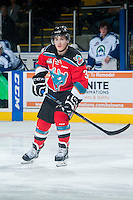 KELOWNA, CANADA - OCTOBER 7: Riley Stadel #3 of Kelowna Rockets skates against the Swift Current Broncos on October 7, 2014 at Prospera Place in Kelowna, British Columbia, Canada.  (Photo by Marissa Baecker/Getty Images)  *** Local Caption *** Riley Stadel;