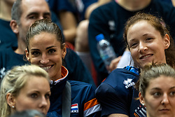 14-10-2018 JPN: World Championship Volleyball Women day 15, Nagoya<br /> China - United States of America 3-2 / Dutch team watch the game between China and USA, Myrthe Schoot #9 of Netherlands, Lonneke Sloetjes #10 of Netherlands