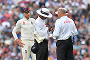 Joe Root of England watching the umpires choose a replacement ball during day 3 of the 5th test match of the International Test Match 2018 match between England and India at the Oval, London, United Kingdom on 9 September 2018.