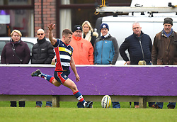 Billy Searle of Bristol United takes a conversion kick - Mandatory by-line: Paul Knight/JMP - 18/11/2017 - RUGBY - Clifton RFC - Bristol, England - Bristol United v Gloucester United - Aviva A League