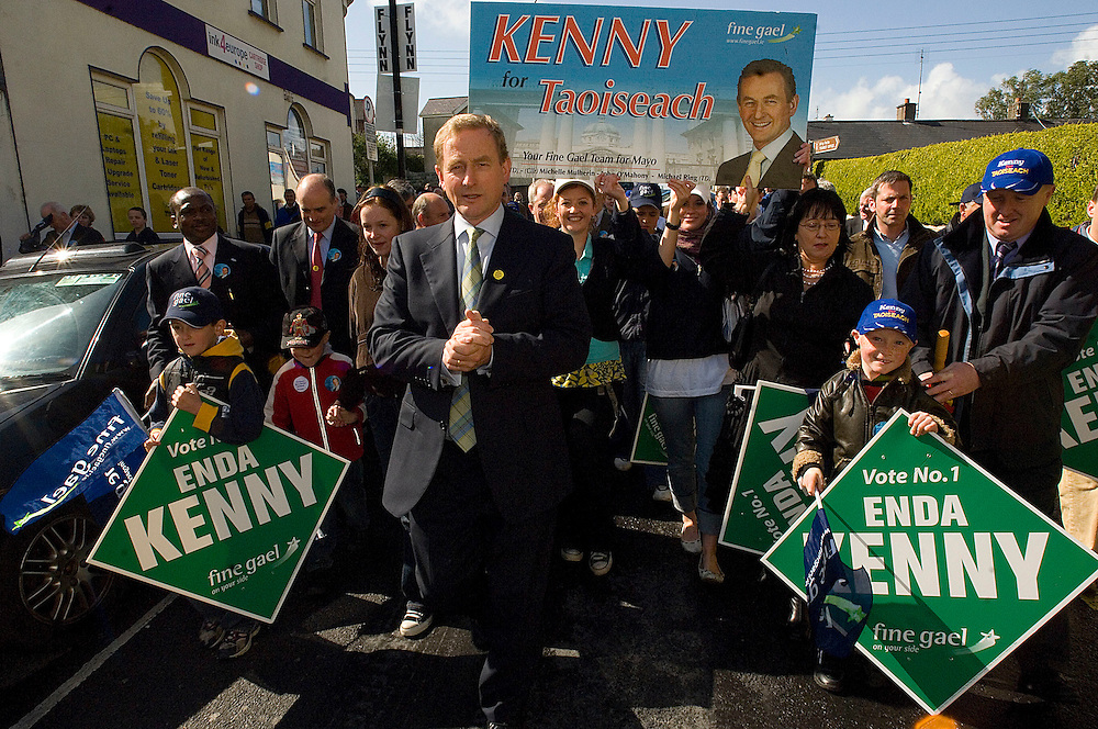 Fine Gael Leader Enda Kenny on a visit to Castlebar. .Pic: Michael Mc Laughlin.
