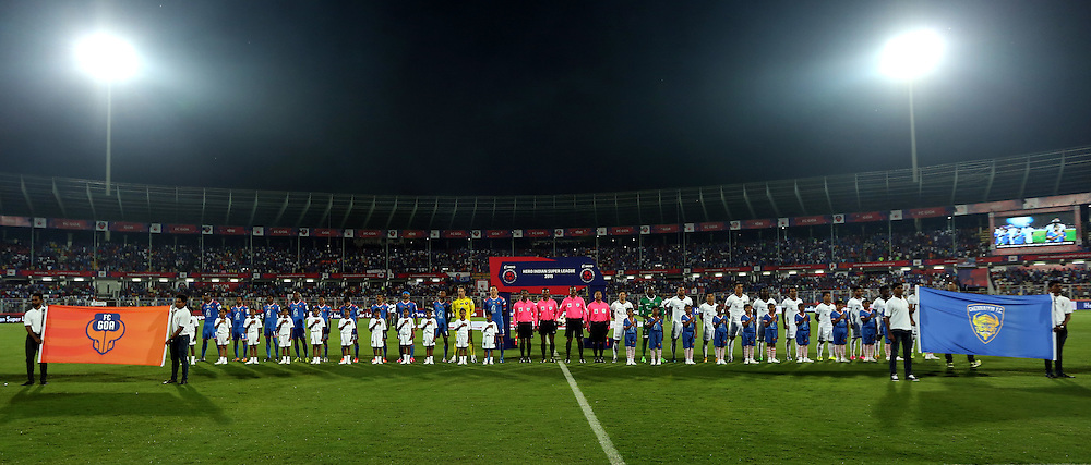 players stand for the national anthem  during match 9 of the Indian Super League (ISL) season 2  between FC Goa and Chennaiyin FC held at the Jawaharlal Nehru Stadium, Fatorda, Goa, India on the 11th October 2015.<br /> <br /> Photo by Sandeep Shetty / ISL/ SPORTZPICS